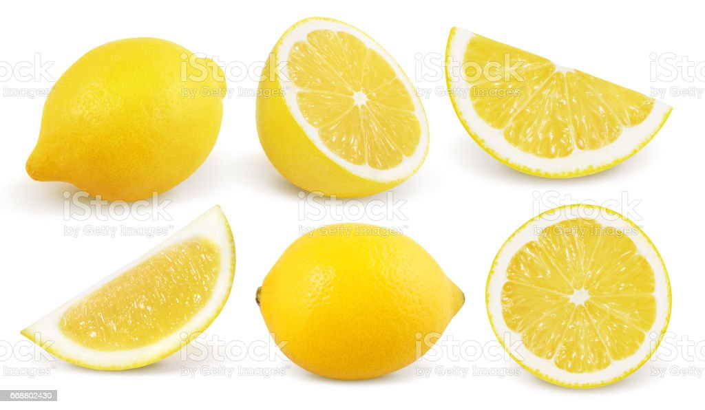 Lemon isolated on white background. Collection. - Zbiór zdjęć royalty-free (Bez ludzi)