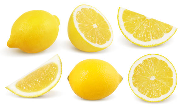 Lemon isolated on white background. Collection. stock photo