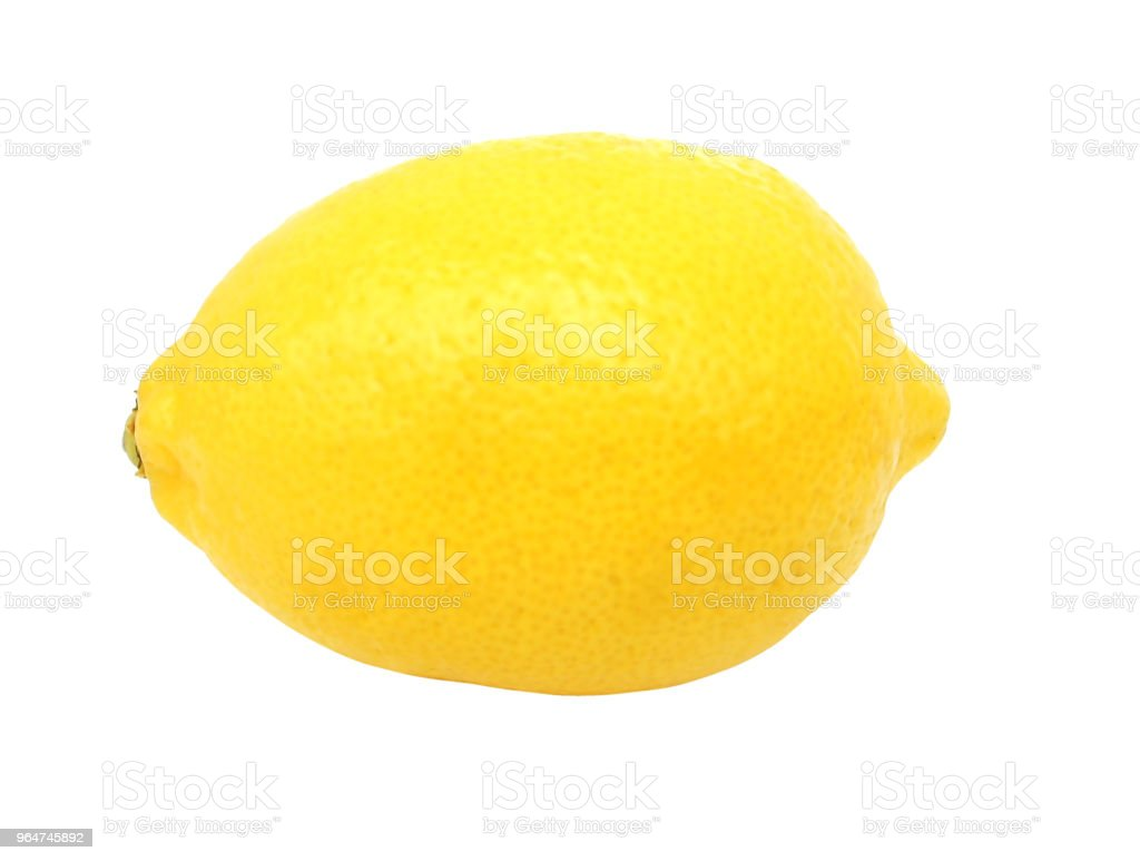 Lemon isolated on white background without shadow. Side view. Close up. royalty-free stock photo