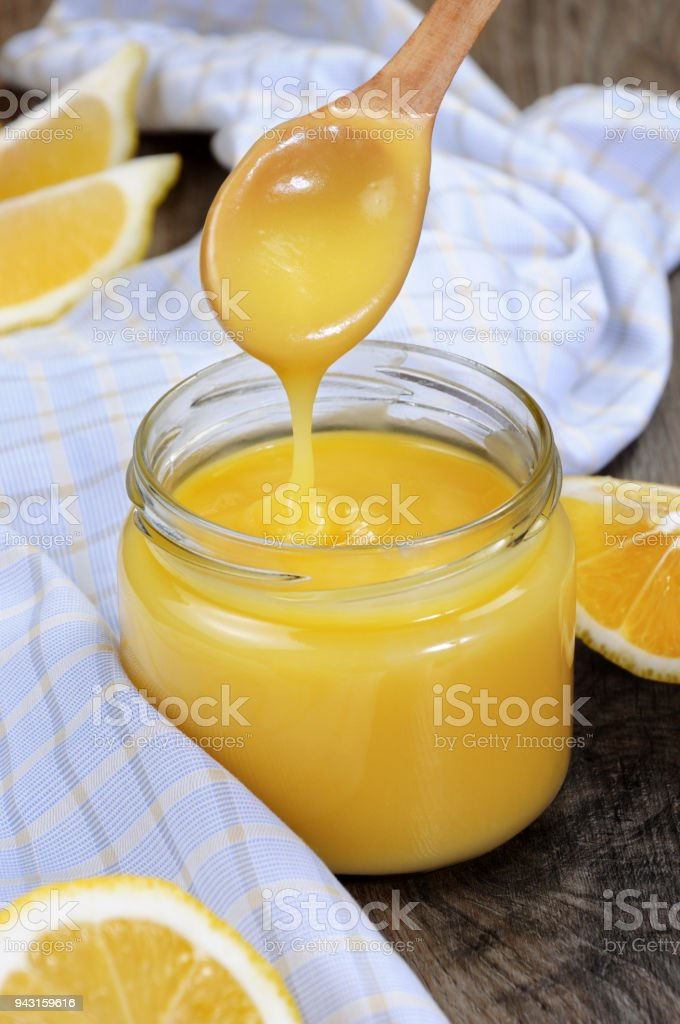 Lemon Kurd - custard on lemon juice. This is a classic, it is used to use with toasts, in tartas, cakes. stock photo