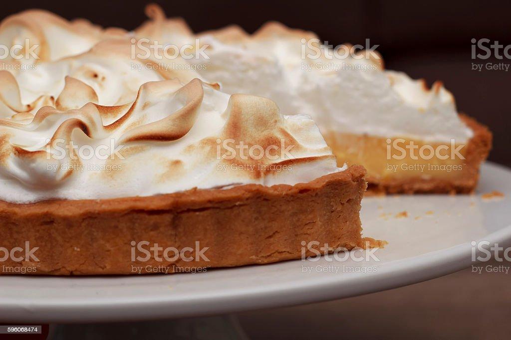 Lemon meringue pie close up royalty-free stock photo