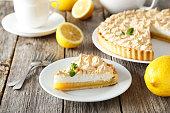 Lemon meringue pie on plate on grey wooden background