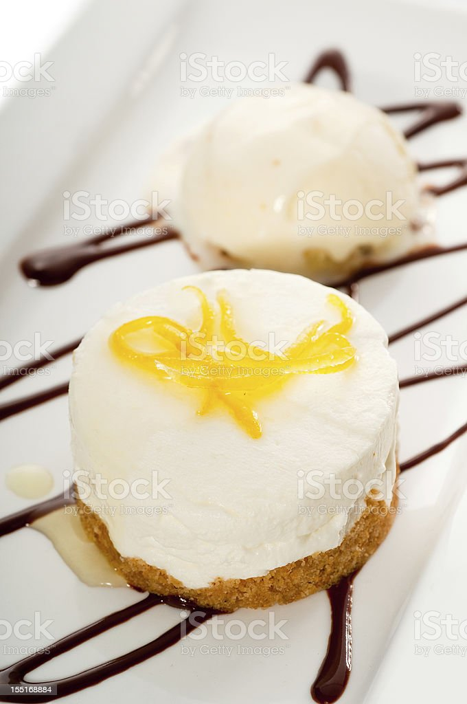 lemon mousse served whith peel on top royalty-free stock photo