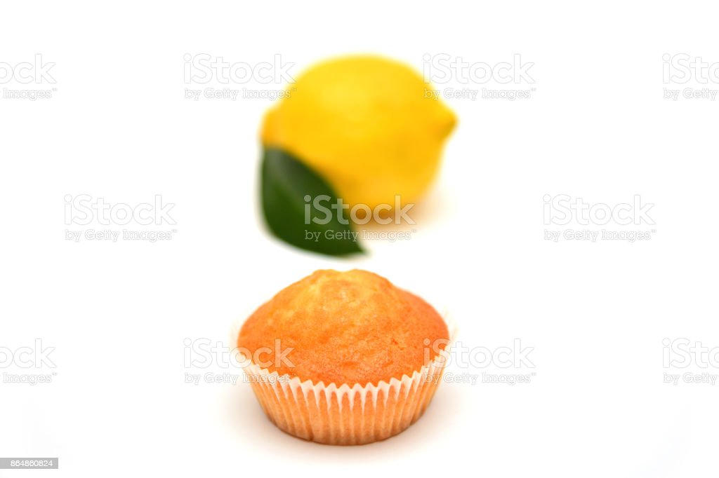 Lemon muffins on white background stock photo