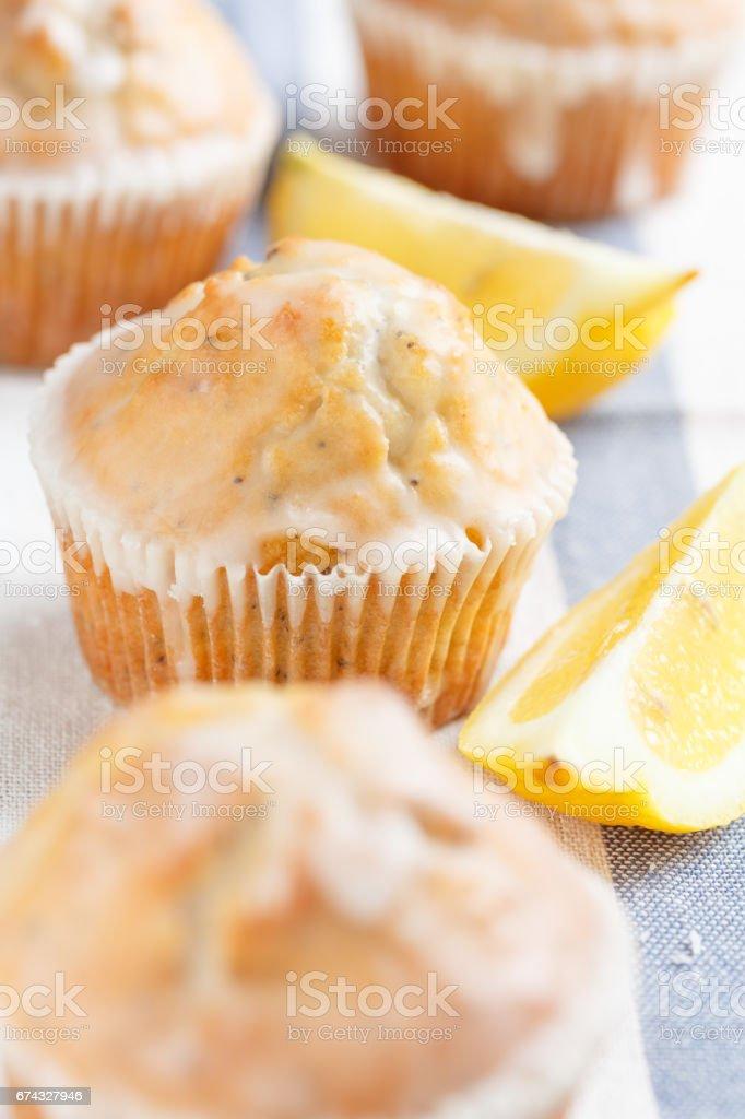 lemon muffins stock photo