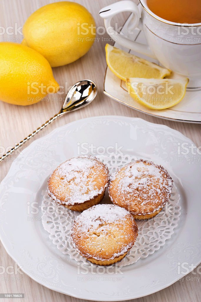 Lemon muffins to tea royalty-free stock photo