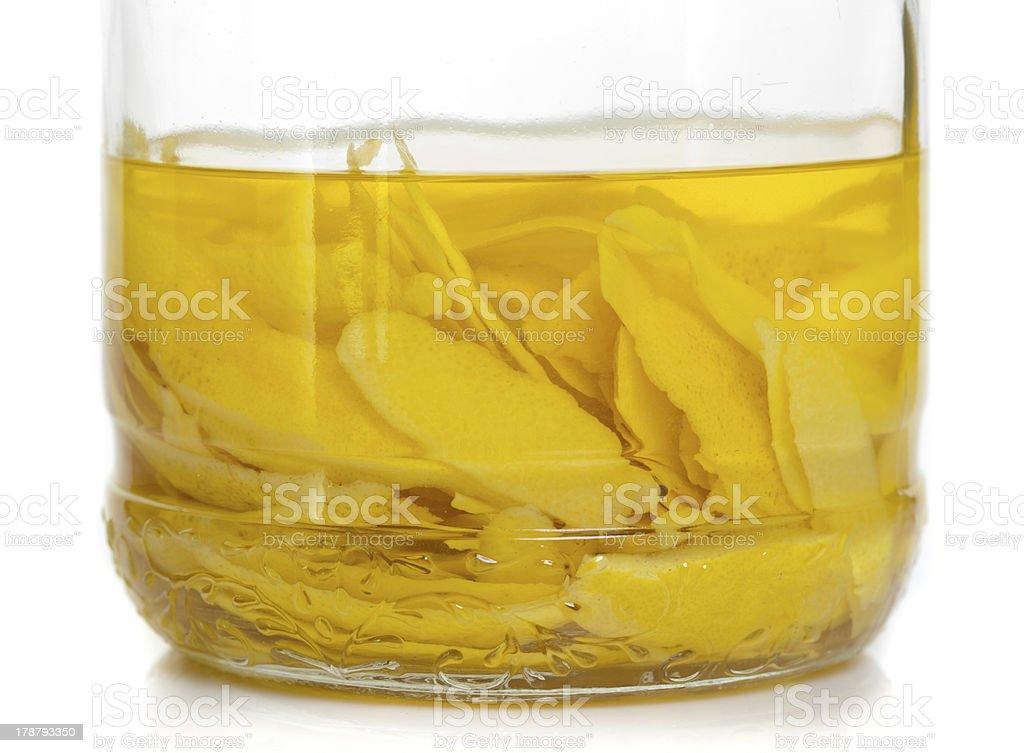 Lemon peel in fermentation stock photo