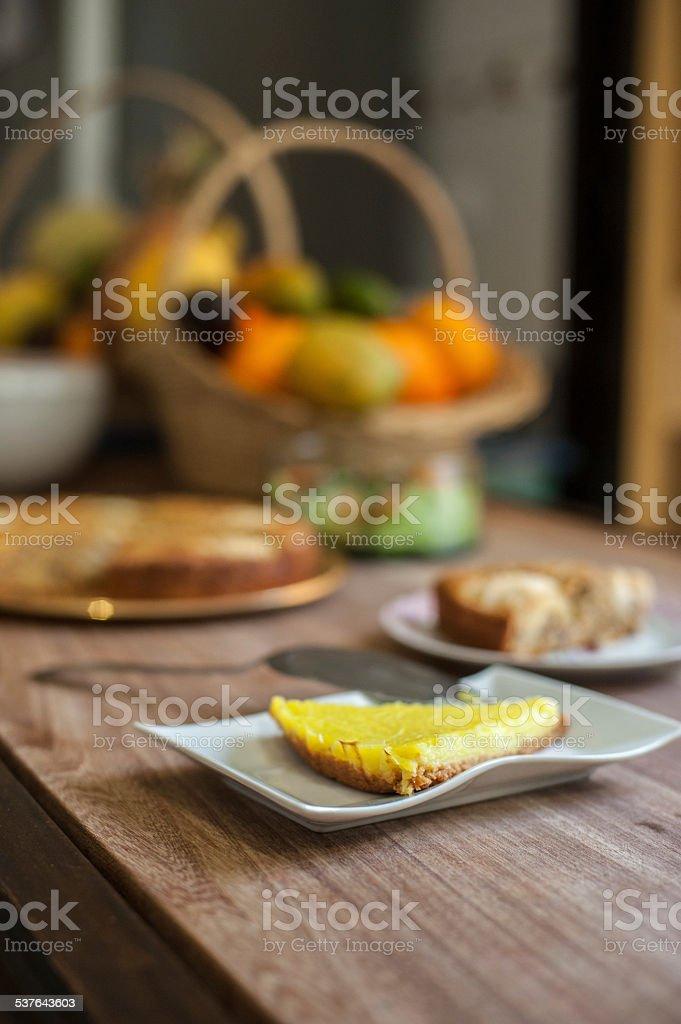 Lemon pie, apple pie and fruit basket stock photo
