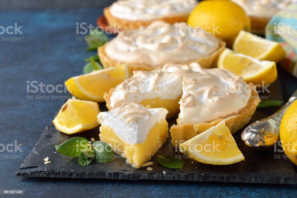 Lemon pie with meringue stock photo