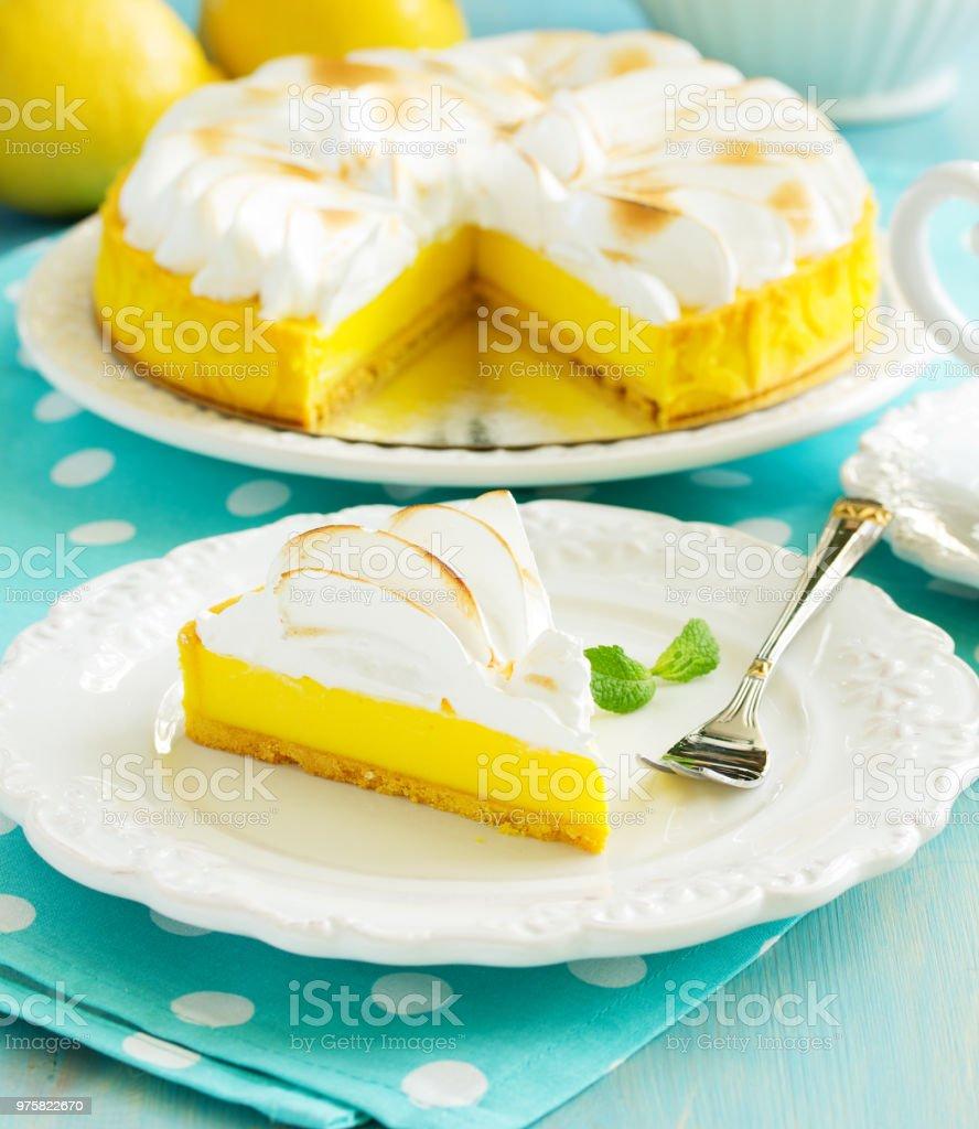 Zitronenkuchen mit Baiser - Lizenzfrei Dessert Stock-Foto
