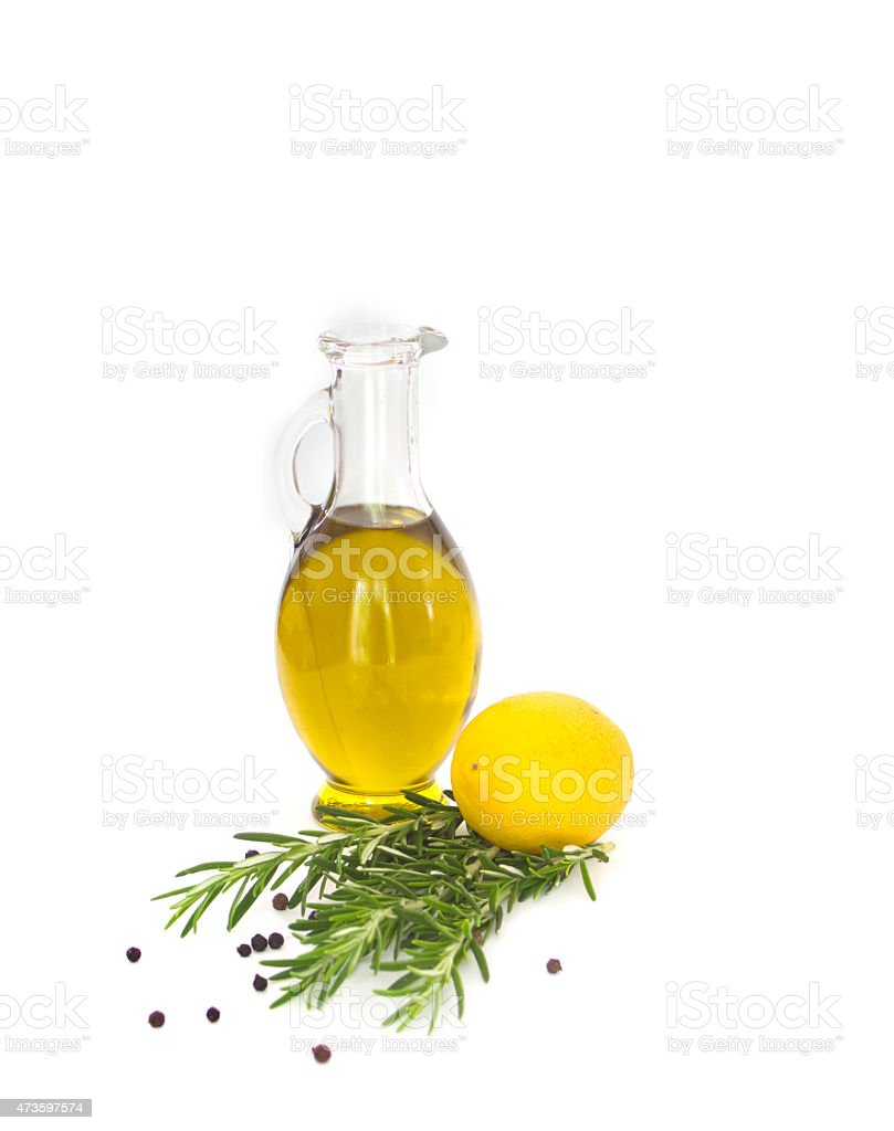 Lemon, rosemary and olive oil stock photo