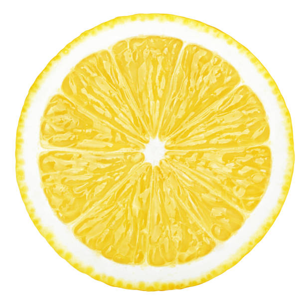 lemon slice, clipping path, isolated on white background - cząstka zdjęcia i obrazy z banku zdjęć