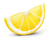 istock Lemon slice isolate. Cut lemon slice side view. Lemon slice with zest isolated. With clipping path. 1257406819