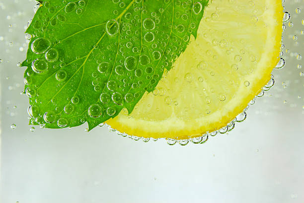 Lemon slice, mint leaf and water with bubbles stock photo