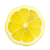 Lemon Slice Over White with a Bright Yellow