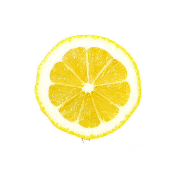 Lemon slice with water drop, clipping path  lemon juice stock pictures, royalty-free photos & images