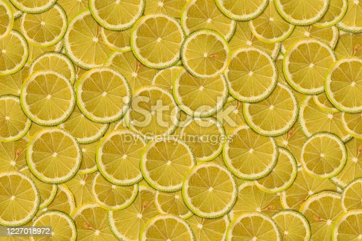 Lemon slices composition and background.