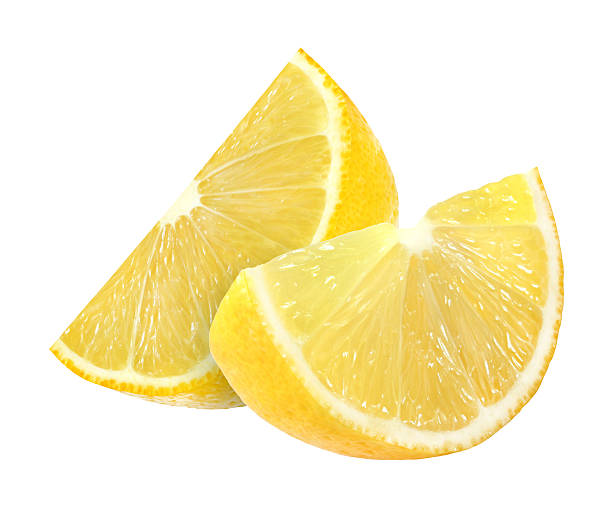 lemon slices isolated on white background with clipping path stock photo