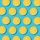 istock Lemon slices pattern on vibrant turquoise color background 927785930