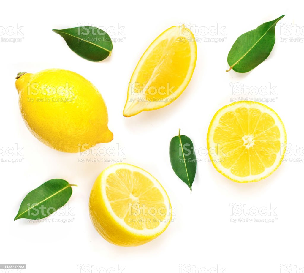 Lemon slices with leaf isolated on white background. Tropical abstract creative Summer background.  Flat lay, top view. - Zbiór zdjęć royalty-free (Abstrakcja)