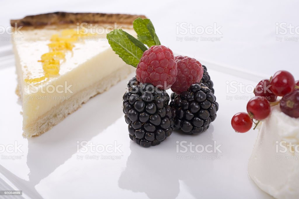 Lemon Tart and Fruit royalty-free stock photo