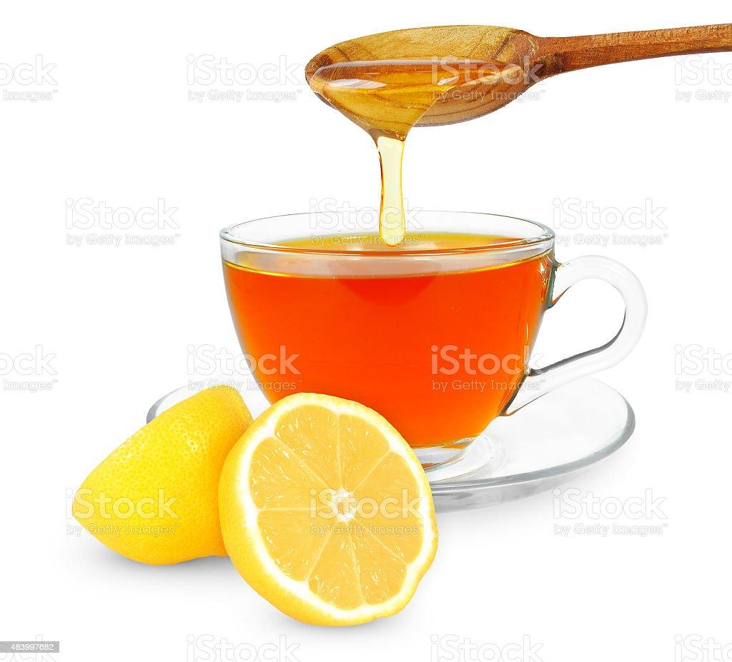 lemon tea with honey stock photo