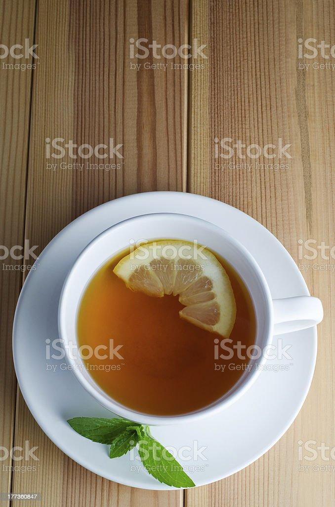 Lemon Tea with Mint Leaves stock photo
