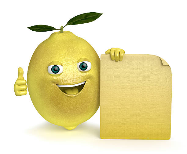 lemon with a sign stock photo