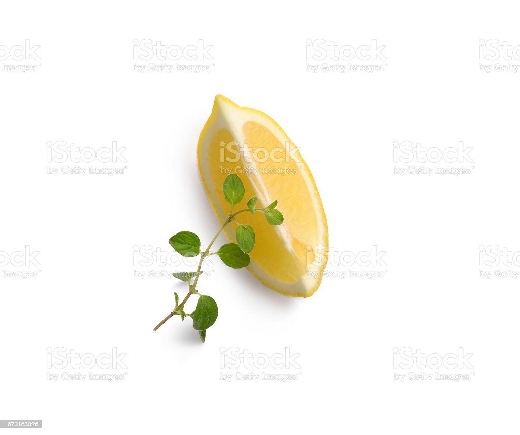 Lemon with aromatic herb stock photo