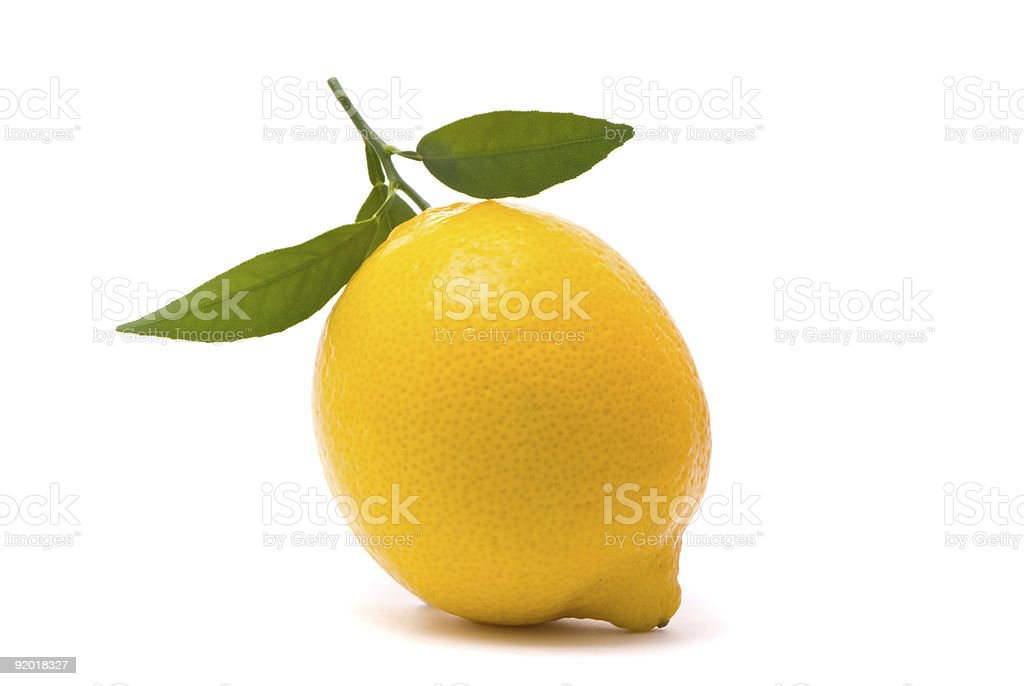 Lemon with fresh leaves. royalty-free stock photo