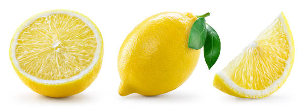 Lemon with leaf isolated on white background. Collection stock photo
