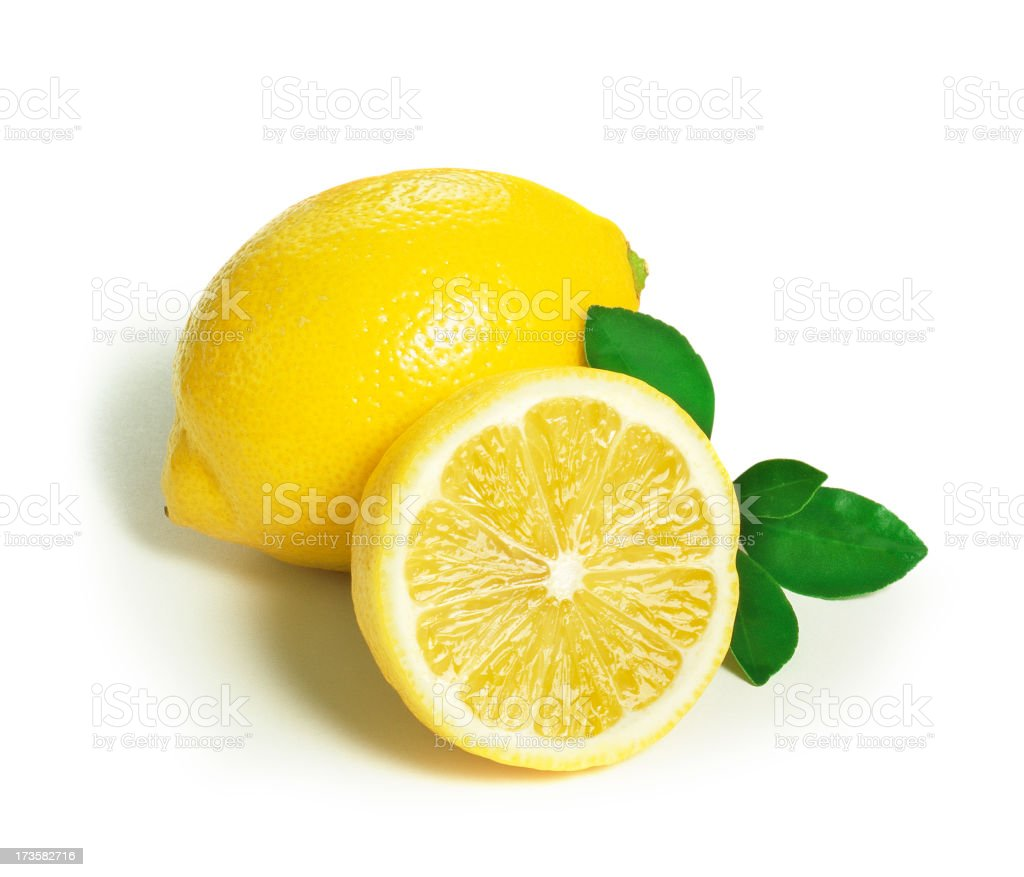 Lemon with Leafs stock photo