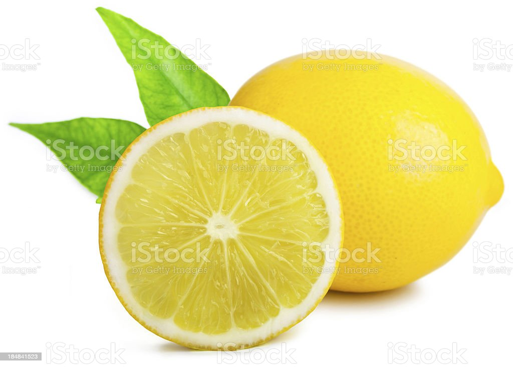 Lemon with leafs royalty-free stock photo