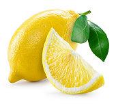 リーブズレモン、白で分離