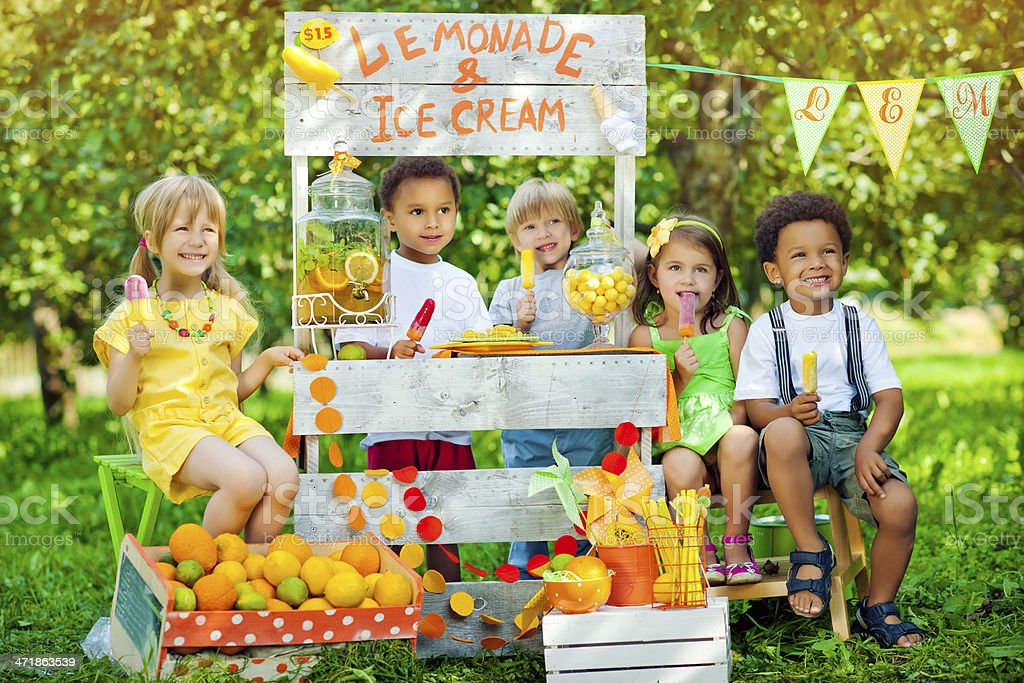 Lemonade anf ice-cream stand and children royalty-free stock photo