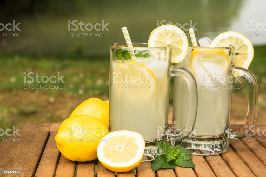 Lemonade By The Lake In Summer stock photo