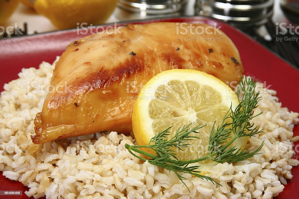Lemonade Chicken on Brown Rice royalty-free stock photo