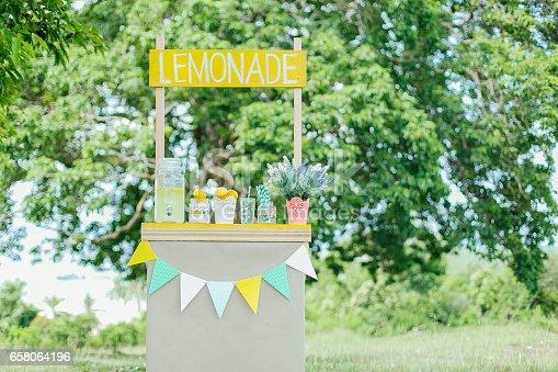 Lemonade stall display during summertime.
