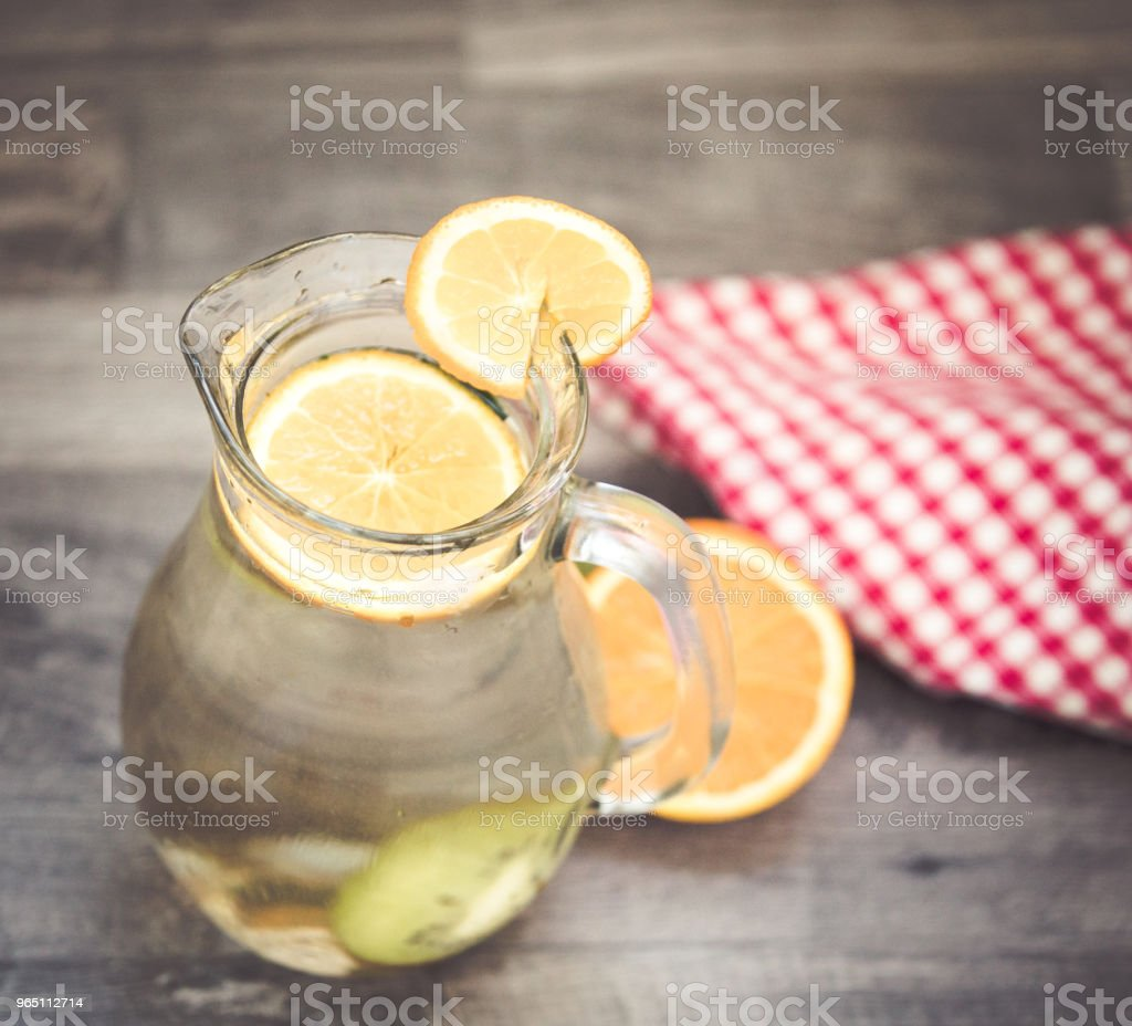 Lemonade glass, summer drink background royalty-free stock photo