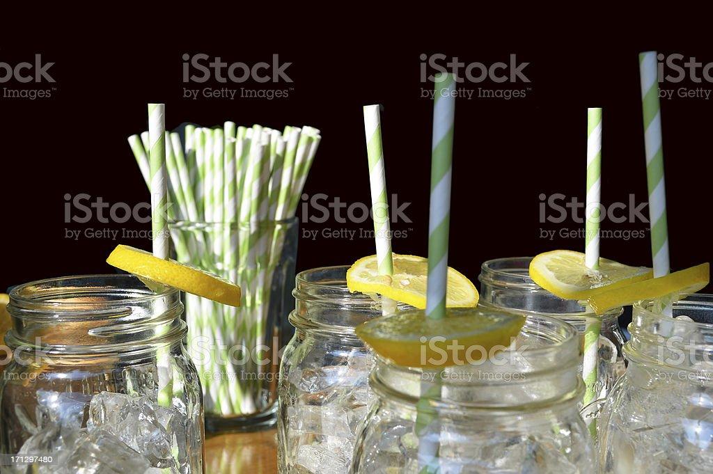 lemonade glasses on black royalty-free stock photo