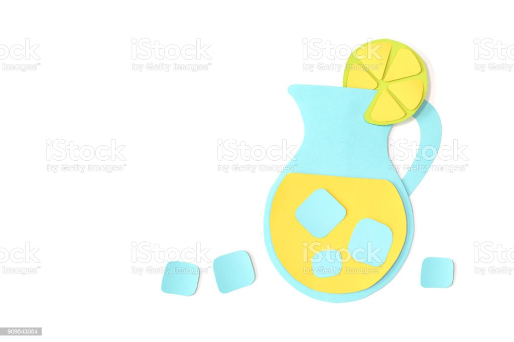 Lemonade in a jar paper cut on white background stock photo
