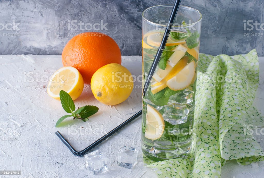 Lemonade in glass with ice and mint royalty-free stock photo