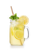 istock lemonade in jar with ice and mint 1253875814