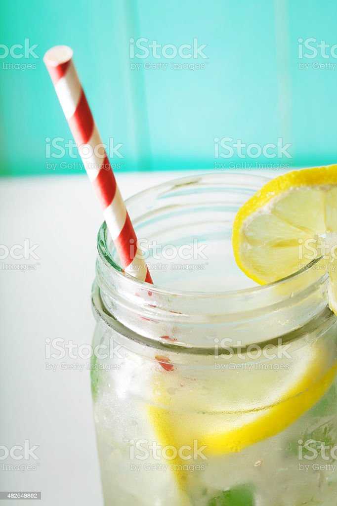 Lemonade in mason jar stock photo