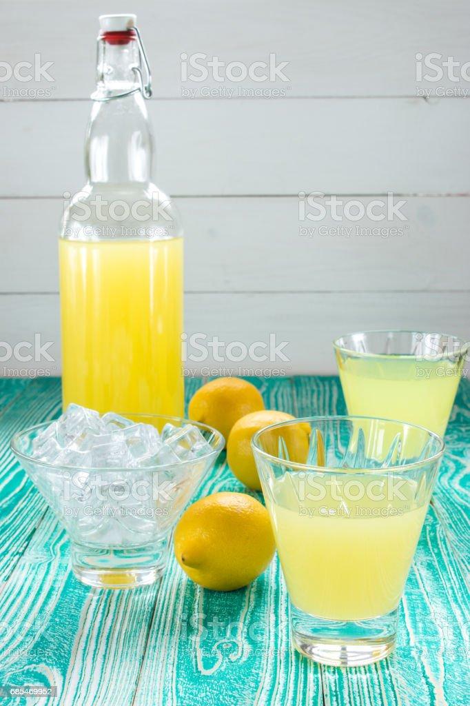 lemonade or limonchello in bottle foto de stock royalty-free