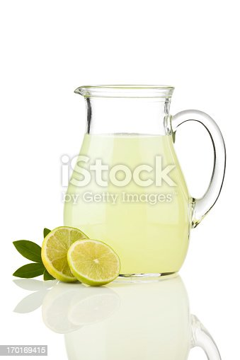 Lemonade Pitcher on Reflective White Background.