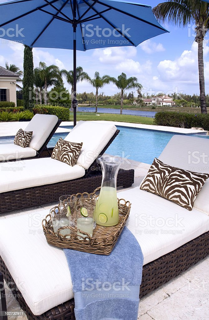 Lemonade Service Beside Tropical Pool Area royalty-free stock photo