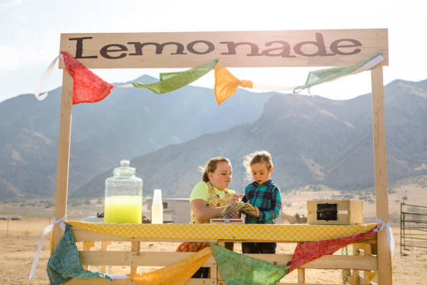 Lemonade Stand Two little girls and their lemonade stand in the western USA. lemonade stand stock pictures, royalty-free photos & images