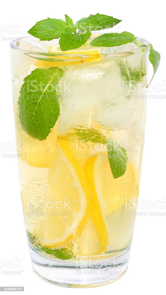 Lemonade with ice cubes stock photo