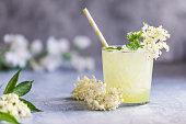 istock Lemonade with lemon lime and elderberry flowers. Elderberry cordial. 1255141887